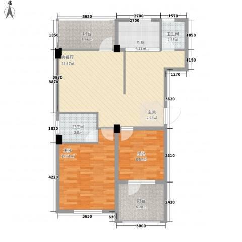 Aoga尚城2室1厅2卫1厨105.00㎡户型图