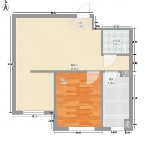 新城丽景1室1厅1卫1厨58.00㎡户型图