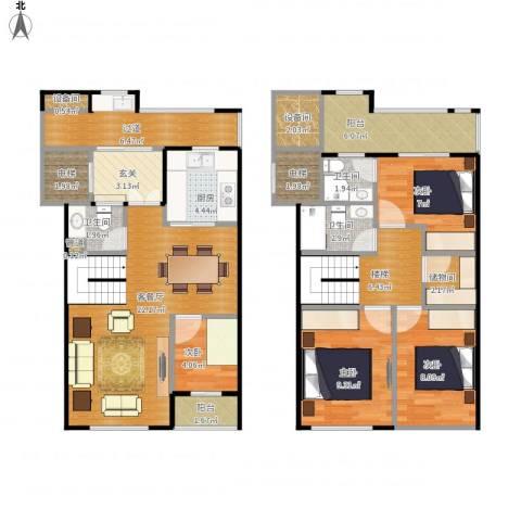 新宏・香榭丽舍4室1厅3卫1厨131.00㎡户型图