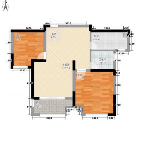 新城公园壹号2室1厅1卫1厨77.00㎡户型图