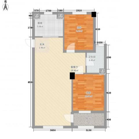 新城丽景2室1厅1卫1厨61.62㎡户型图