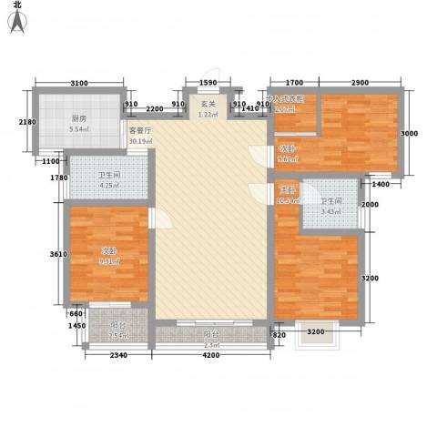 水岸名都二期3室1厅2卫1厨122.00㎡户型图