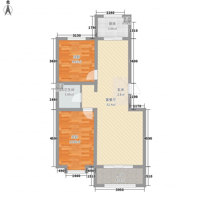 金坤・丽景水岸二期88.12㎡逸居户型2室2厅1卫1厨