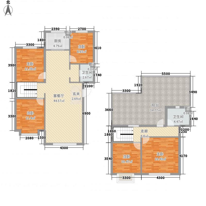 金坤・丽景水岸二期167.00㎡御府五跃六复式户型5室2厅2卫1厨