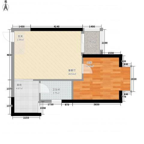 星河传说迪纳公寓1室1厅1卫1厨60.00㎡户型图