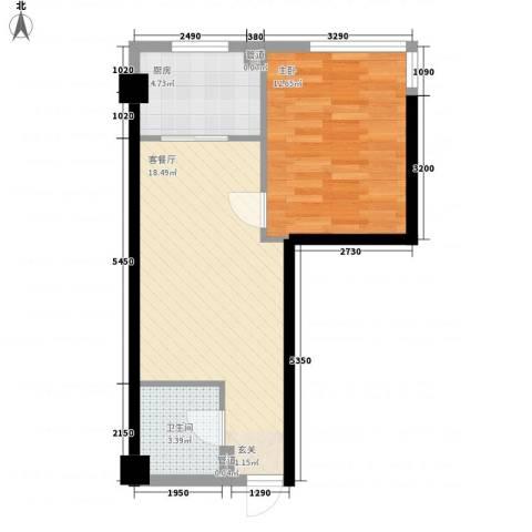 金色地带1室1厅1卫1厨61.00㎡户型图