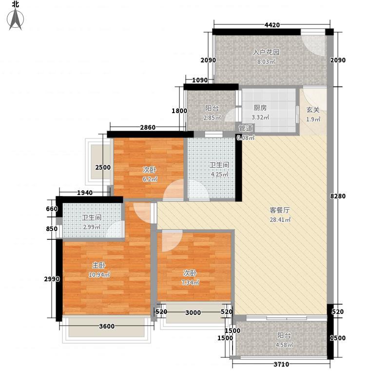 天奕国际广场18.65㎡4栋05单位户型3室2厅2卫