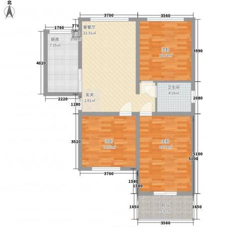 怡安嘉园3室1厅1卫1厨114.00㎡户型图