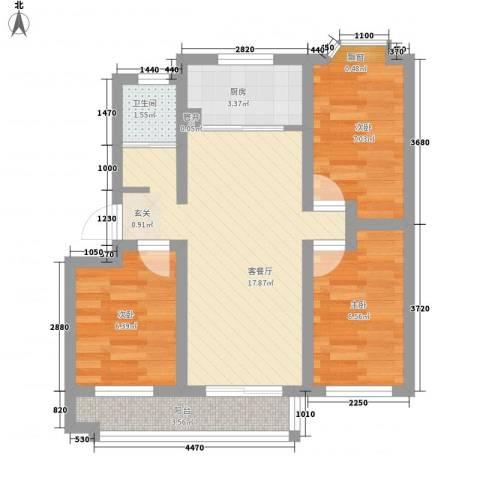 瘦西湖新苑3室1厅1卫1厨70.00㎡户型图
