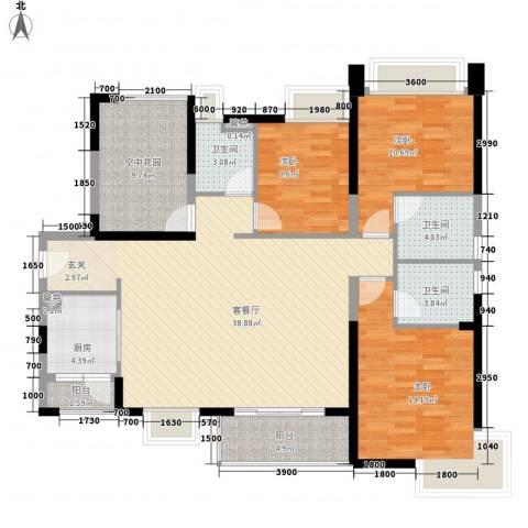 汇景御海蓝岸3室1厅3卫1厨141.00㎡户型图