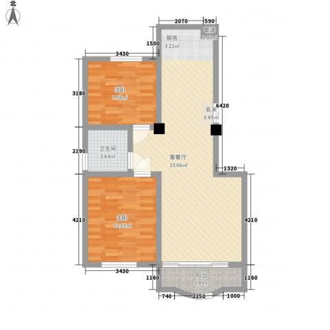 西雅图观海苑2室1厅1卫0厨93.00㎡户型图