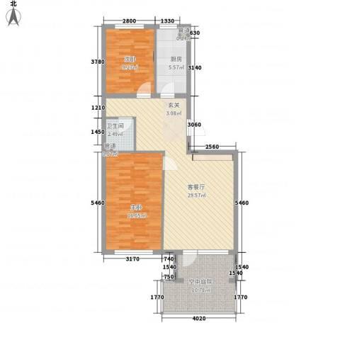 高教新城・学区嘉园2室1厅1卫1厨87.00㎡户型图