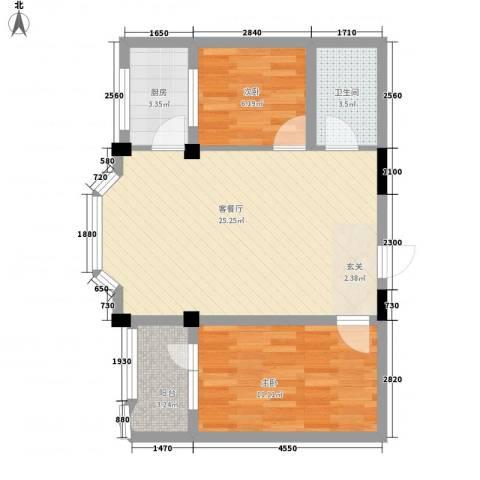 金园名城2室1厅1卫1厨74.00㎡户型图