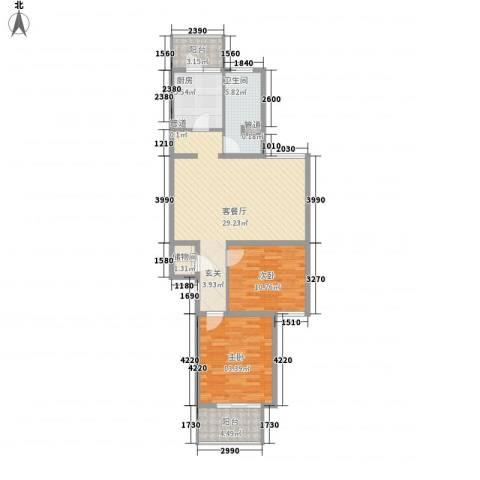 巴克寓所2室1厅1卫1厨73.96㎡户型图