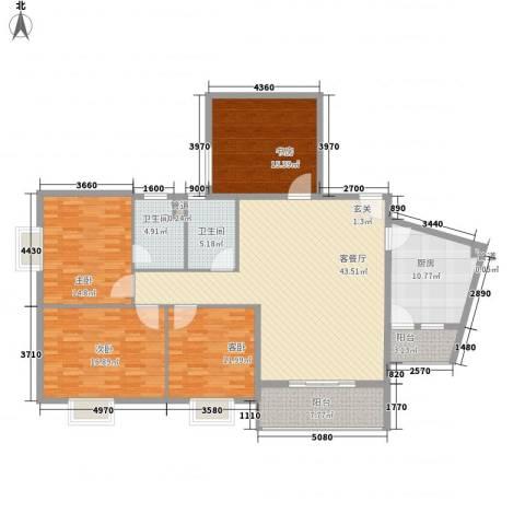 柏景豪庭4室1厅2卫1厨187.00㎡户型图