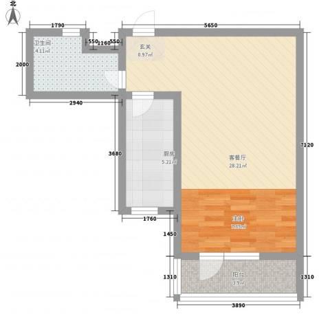 华福国际1厅1卫1厨60.00㎡户型图