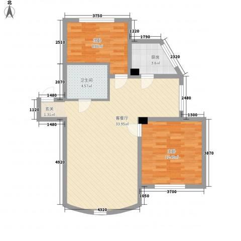 西雅图观海苑2室1厅1卫1厨91.00㎡户型图