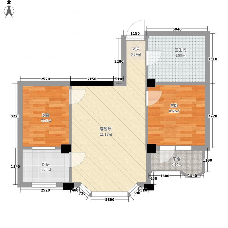 金园名城71.00㎡金园名城户型图3号楼2室1厅1卫1厨户型2室1厅1卫1厨
