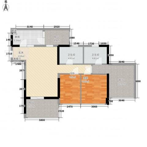 星河传说迪纳公寓2室1厅2卫1厨86.00㎡户型图
