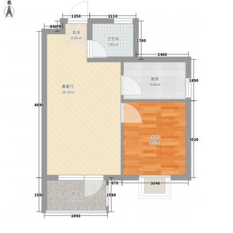 华福国际1室1厅1卫1厨59.00㎡户型图