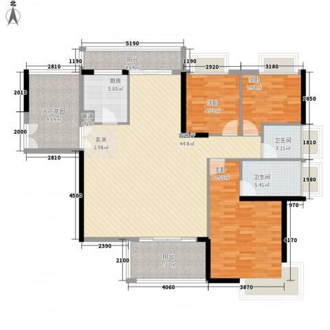 龙升市场3室1厅2卫1厨113.87㎡户型图