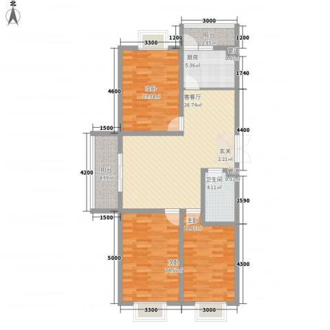 蓝山公馆项目3室1厅1卫1厨120.00㎡户型图