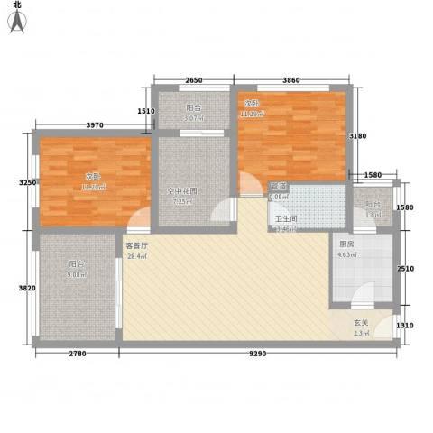 积汇花园2室1厅1卫1厨116.00㎡户型图