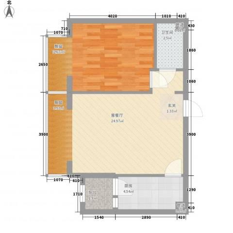 高教新城・学区嘉园1室1厅1卫1厨51.00㎡户型图