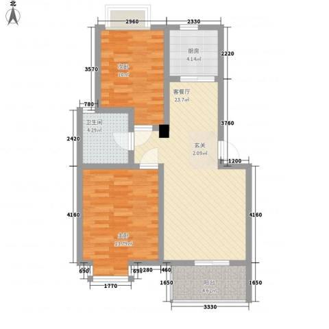 蓬莱花园2室1厅1卫1厨84.00㎡户型图