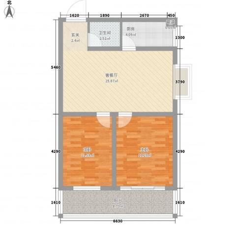 五环国际2室1厅1卫1厨65.34㎡户型图