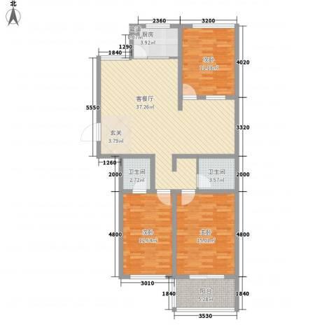 五环国际3室1厅2卫1厨131.00㎡户型图