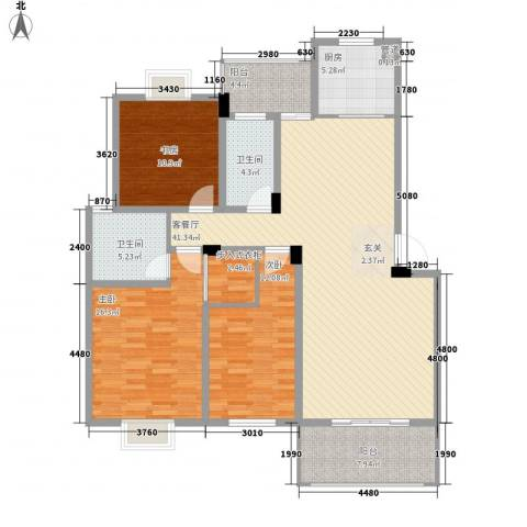 三江养生美墅3室1厅2卫1厨156.00㎡户型图