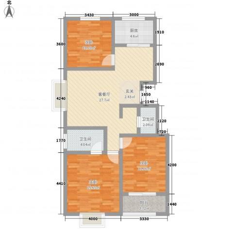 五环国际3室1厅2卫1厨116.00㎡户型图