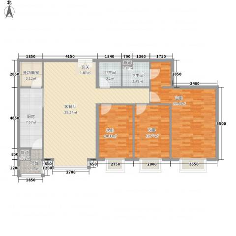 富力城D区3室1厅2卫1厨139.00㎡户型图