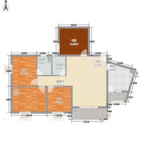 华联大厦4室1厅2卫1厨180.00㎡户型图