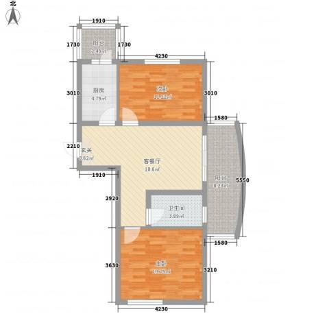 四季芳洲2室1厅1卫1厨63.02㎡户型图