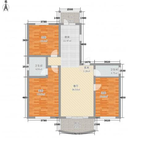 四季芳洲3室1厅2卫0厨97.41㎡户型图