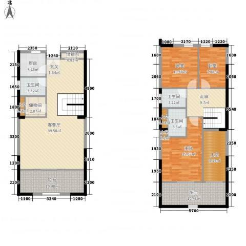紫薇尚层1室1厅3卫1厨131.57㎡户型图
