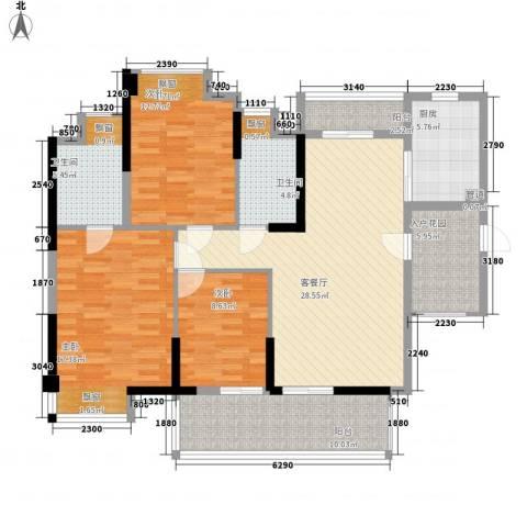 保利林语3室1厅2卫1厨101.86㎡户型图