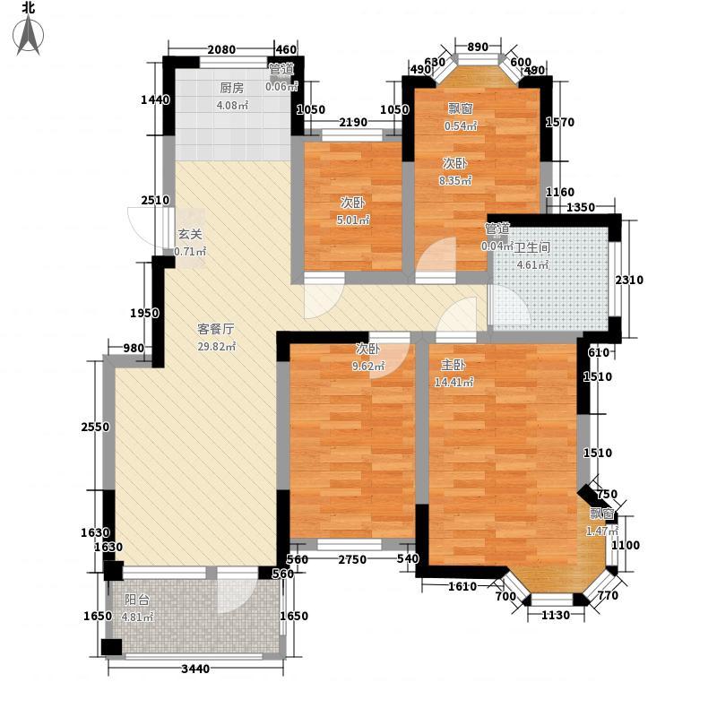 怡景新城112.00㎡H/J户型4室2厅1卫