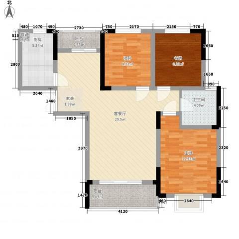 利港银河新城3室1厅1卫1厨110.00㎡户型图