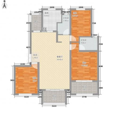 清雅苑3室1厅2卫1厨139.00㎡户型图