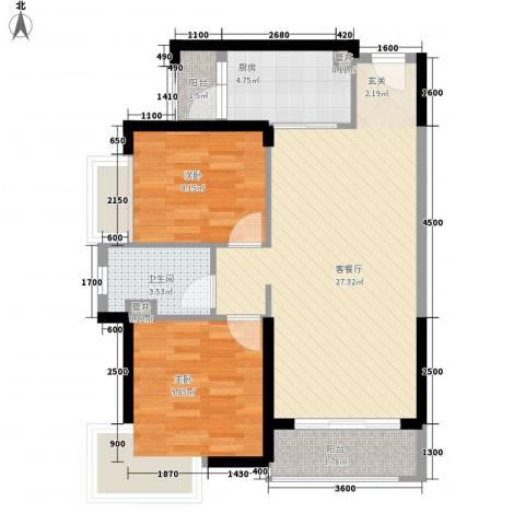 汇景御海蓝岸2室1厅1卫1厨81.00㎡户型图