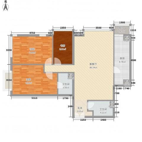 富力城D区3室1厅2卫1厨137.00㎡户型图