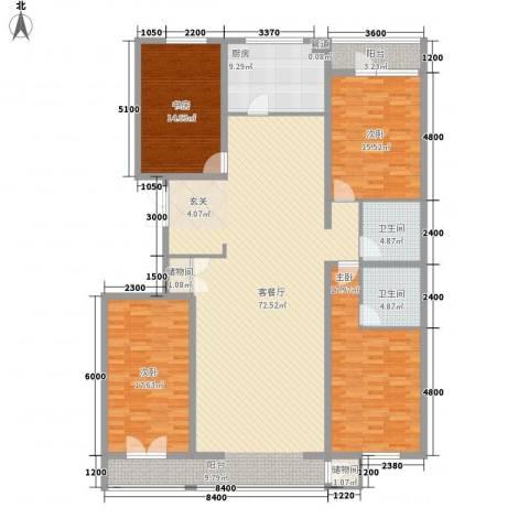 和成金都园4室1厅2卫1厨216.00㎡户型图
