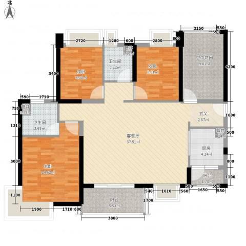 汇景御海蓝岸3室1厅2卫1厨128.00㎡户型图