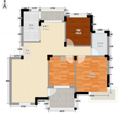 金水童话名苑3室1厅1卫1厨77.90㎡户型图