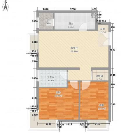 融科橄榄城三期君邑2室1厅1卫1厨96.00㎡户型图