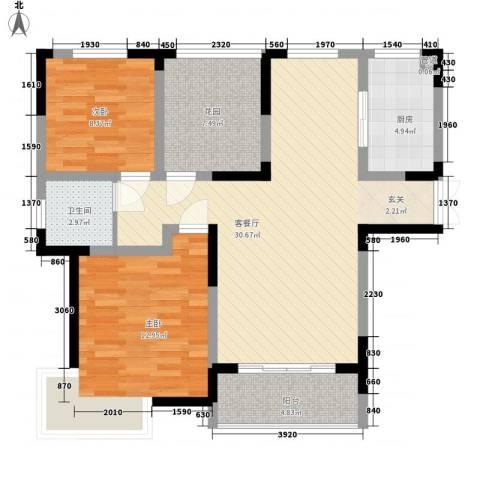 利港银河新城2室1厅1卫1厨105.00㎡户型图