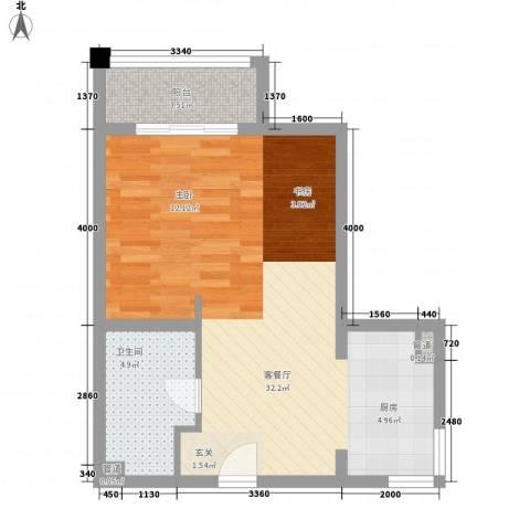 兴龙银座1厅1卫0厨64.00㎡户型图